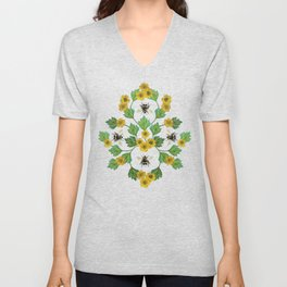 Bumblebees and Buttercups - Green & Yellow Floral/Botanical Pattern Unisex V-Neck
