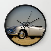 porsche Wall Clocks featuring Porsche Speedster by Hugh Hamilton