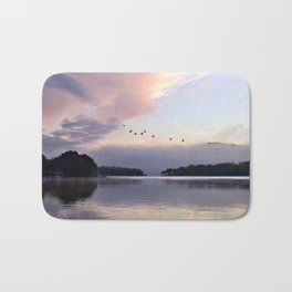 Uplifting: Geese Rise at Dawn on Lake George Bath Mat