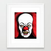 pennywise Framed Art Prints featuring Pennywise by darkscrybe