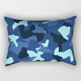 Blue marine army camo camouflage pattern Rectangular Pillow