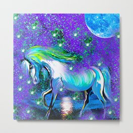 HORSE DANCING IN STAR LIGHT AND MOON DUST Metal Print