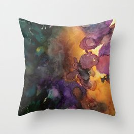 Abstract in Purple and Orange Throw Pillow