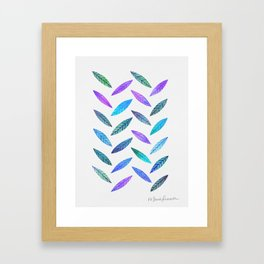Falling Leaves - Cool Tones Framed Art Print