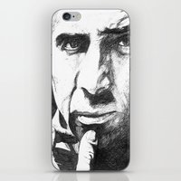 nicolas cage iPhone & iPod Skins featuring Nicolas Cage by DeMoose_Art