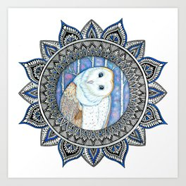 Winter Barn Owl Mandala Art Print