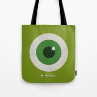 monster inc Tote Bags featuring Monster, Inc. - Green (Vintage) by Lemontrend Studio
