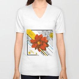 red flower collage Unisex V-Neck