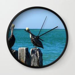 Two Old Guys On A Jetty Wall Clock