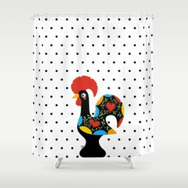 Famous Rooster Lucky Charm & Polka Dots Shower Curtain