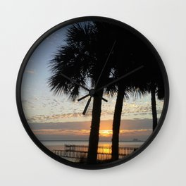 Two Trees River Sunrise Wall Clock