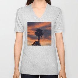 Palm Trees in Sunset on the Planet Jupiter Unisex V-Neck