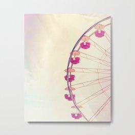 Vintage Inspired Ferris Wheel in Hot Pink and Cream Metal Print