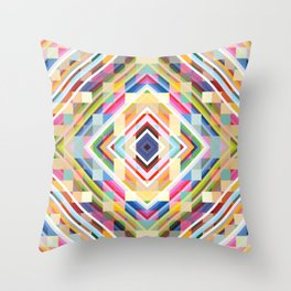 Satyr - Colorful Abstract Smmetric Mosaic Throw Pillow