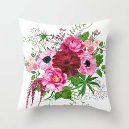 Burgundy bouquet Throw Pillow