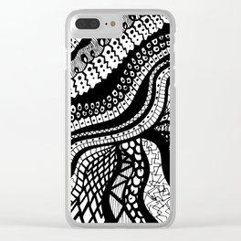 Free Hand Wavy Pattern Black and White Drawing Clear iPhone Case