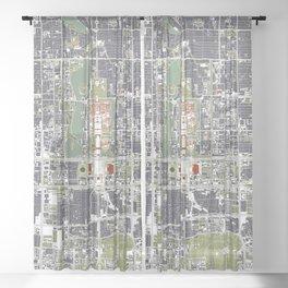 Beijing city map engraving Sheer Curtain