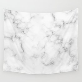 The Perfect Classic White with Grey Veins Marble Wall Tapestry