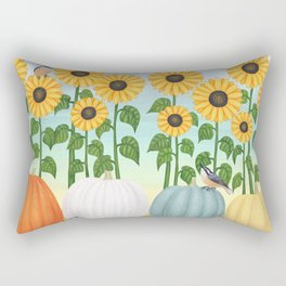chipmunk, red breasted nuthatches, heirloom pumpkins, & sunflowers Rectangular Pillow