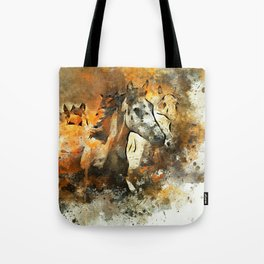 Watercolor Galloping Horses On Raw Canvas | Splatter Painting Tote Bag