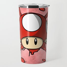 Red Mushroom Crossbones Travel Mug