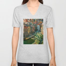 Italy. Cinque Terre - Canal side Close Up Unisex V-Neck