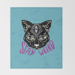 Stay Weird Throw Blanket