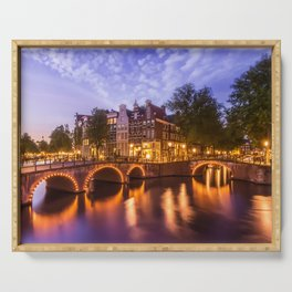 AMSTERDAM Idyllic nightscape from Keizersgracht and Leidsegracht Serving Tray