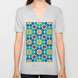 Moroccan pattern, Morocco. Patchwork mosaic with traditional folk geometric ornament Unisex V-Neck