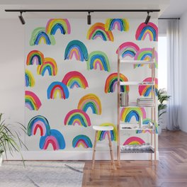 Abstract Rainbow Arcs - White Palette Wall Mural