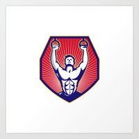 crossfit Art Prints featuring Crossfit Training Athlete Rings Retro by retrovectors