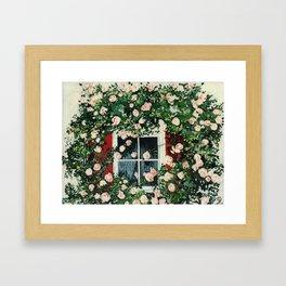Cat In Window Of Roses Framed Art Print
