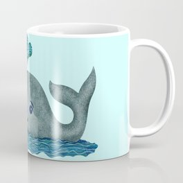 Whale Mom and Baby with Hearts in Gray and Turquoise Coffee Mug