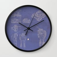 transformer Wall Clocks featuring Transformer Blueprints by William McDonald