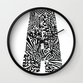 Alphabet Letter A Impact Bold Abstract Pattern (ink drawing) Wall Clock