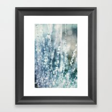 Blue Grass Drops Framed Art Print