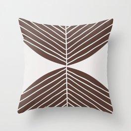 Minimal Tropical Leaf - Earth Brown Throw Pillow