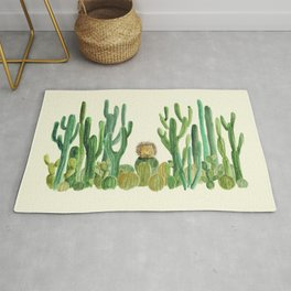 In my happy place - hedgehog meditating in cactus jungle Rug