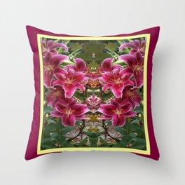 BURGUNDY ASIAN LILIES FLORAL MODERN ART Throw Pillow