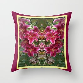 BURGUNDY ASIAN LILIES FLORAL MODERN ART Throw Pillow