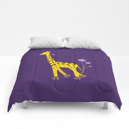 Funny Giraffe Roller Skating Comforters