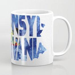 Pennsylvania Typographic Flag Map Art Coffee Mug