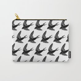 Linocut Swallow bird pattern black and white birds minimal gender neutral nursery Carry-All Pouch