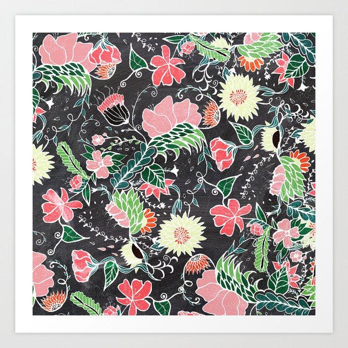 Pastel preppy hand drawn garden flowers chalkboard Art Print