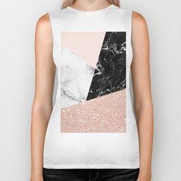 Black white marble blush pink rose gold glitter color block Biker Tank