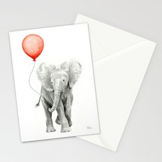 Baby Elephant Watercolor Red Balloon Nursery Decor Stationery Cards