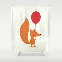 Fox With A Red Balloon Shower Curtain