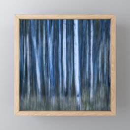 The Night's Forest - Ghostly Blue and White Trees Framed Mini Art Print