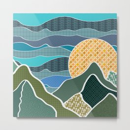 Digitally Quilted Mountains Metal Print