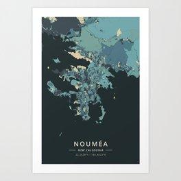 Noumea, New Caledonia - Cream Blue Art Print